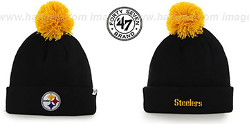 Steelers POMPOM CUFF Black Knit Beanie Hat by Twins 47 Brand