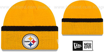 Steelers RIBBED-UP Gold Knit Beanie Hat by New Era