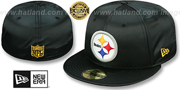 Steelers 'SATIN BASIC' Black Fitted Hat by New Era