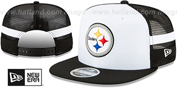 Steelers SIDE-STRIPED TRUCKER SNAPBACK Hat by New Era