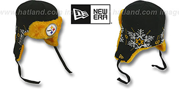 Steelers 'SNOWFLAKE TRAPPER' Black-Gold Knit Hat by New Era