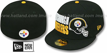 Steelers STACK-THE-BOX Black Fitted Hat by New Era
