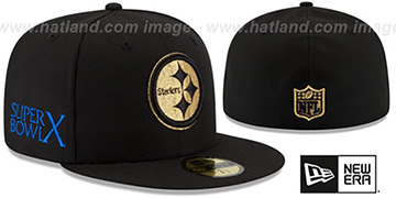 Steelers 'SUPER BOWL X GOLD-50' Black Fitted Hat by New Era