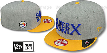 Steelers SUPER BOWL X SNAPBACK Grey-Gold Hat by New Era