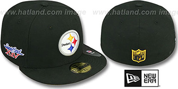 Steelers SUPER BOWL XIV Black Fitted Hat by New Era