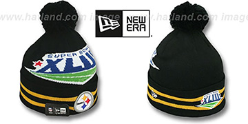 Steelers 'SUPER BOWL XLIII' Black Knit Beanie Hat by New Era