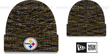 Steelers TEAM-CRAZE Black-Gold Knit Beanie Hat by New Era