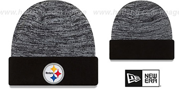 Steelers 'TEAM-RAPID' Black-White Knit Beanie Hat by New Era