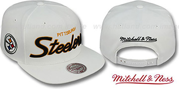 Steelers 'TEAM-SCRIPT SNAPBACK' White Hat by Mitchell & Ness