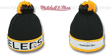 Steelers THE-BUTTON Knit Beanie Hat by Michell and Ness