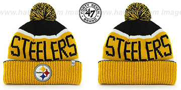 Steelers THE-CALGARY Gold-Black Knit Beanie Hat by Twins 47 Brand
