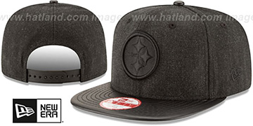 Steelers 'THROWBACK LEATHER-MATCH SNAPBACK' Black Hat by New Era