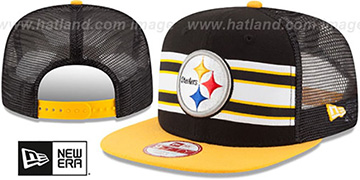 Steelers 'THROWBACK-STRIPE SNAPBACK' Black-Gold Hat by New Era