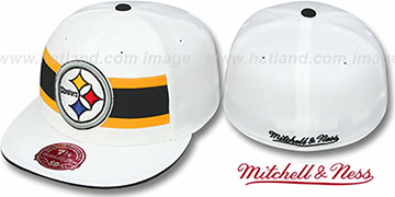 Steelers THROWBACK TIMEOUT White Fitted Hat by Mitchell & Ness