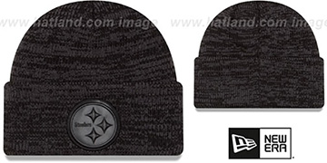 Steelers 'TONAL TRICK' Black-Grey Knit Beanie Hat by New Era