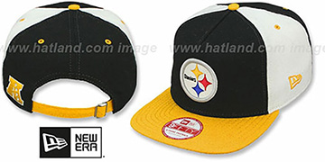 Steelers 'TRIPLE MELTON STRAPBACK' Black-White-Gold Hat by New Era