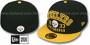 Steelers 'WORD-KNOCK' Black-Gold Fitted Hat by New Era