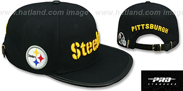 Steelers WORD-MARK STRAPBACK Black Hat by Pro Standard