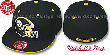 Steelers XL-HELMET Black Fitted Hat by Mitchell & Ness