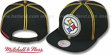 Steelers XL-LOGO SOUTACHE SNAPBACK Black Adjustable Hat by Mitchell & Ness