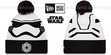 Storm Trooper GALLACTIC BIGGIE-2 White-Black Knit Beanie Hat by New Era