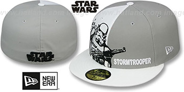Storm Trooper 'PANEL-POP' Grey-White Fitted Hat by New Era