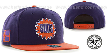 Suns SURE-SHOT SNAPBACK Purple-Orange Hat by Twins 47 Brand