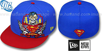 Superman 'DEATHCREST' Royal-Red Fitted Hat by New Era