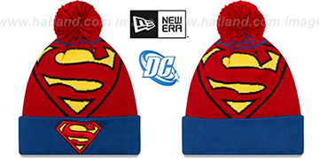 Superman LOGO WHIZ Red-Royal Knit Beanie Hat by New Era