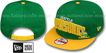 Supersonics 'CHENILLE-ARCH SNAPBACK' Green-Gold Hat by New Era