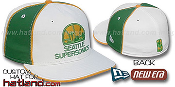 Supersonics OLD SCHOOL PINWHEEL-2 White-Green Fitted Hat