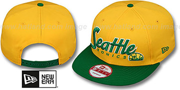 Supersonics 'SNAP-IT-BACK SNAPBACK' Gold-Green Hat by New Era