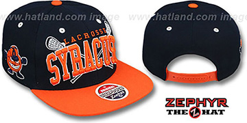 Syracuse 'LACROSSE SUPER-ARCH SNAPBACK' Navy-Orange Hat by Zephyr