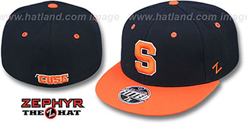 Syracuse 'SLIDER' Navy-Orange Fitted Hat by Zephyr