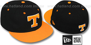 Tennessee '2T NCAA-BASIC' 2 Black-Orange Fitted Hat by New Era