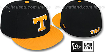 Tennessee '2T NCAA-BASIC' Black-Orange Fitted Hat by New Era