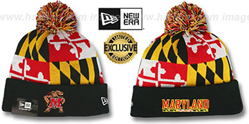 Terps TURTLE MARYLAND-FLAG POM-POM Knit Beanie Hat by New Era