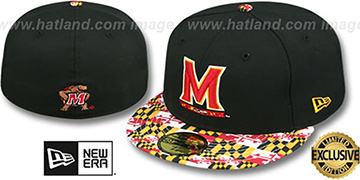 Terrapins 'MARYLAND-FLAG VIZA' Black Fitted Hat by New Era