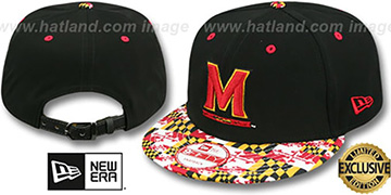 Terrapins 'MARYLAND-FLAG VIZA NUBUCK STRAPBACK' Black Hat by New Era