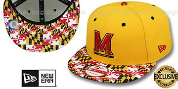Terrapins 'MARYLAND-FLAG VIZA STRAPBACK' Gold Hat by New Era