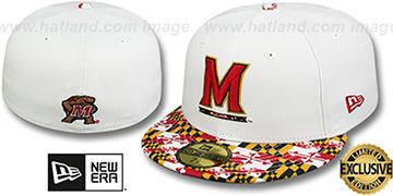 Terrapins 'MARYLAND-FLAG VIZA' White Fitted Hat by New Era