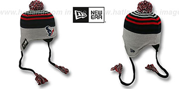 Texans 'GREY STRIPETOP' Knit Beanie Hat by New Era
