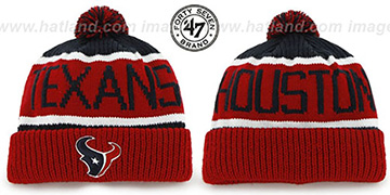 Texans THE-CALGARY Red-Navy Knit Beanie Hat by Twins 47 Brand