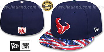 Texans USA WAVING-FLAG Navy Fitted Hat by New Era