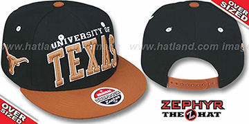 Texas '2T SUPER-ARCH OVER-SIZED SNAPBACK' Black-Burnt Orange Hat by Zephyr