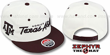 Texas A & M '2T HEADLINER SNAPBACK' White-Maroon Hat by Zephyr