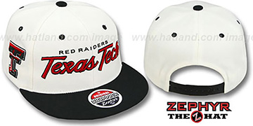 Texas Tech '2T HEADLINER SNAPBACK' White-Black Hat by Zephyr