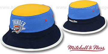 Thunder COLOR-BLOCK BUCKET Gold-Blue-Navy Hat by Mitchell and Ness