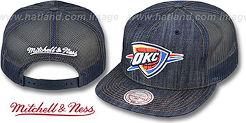 Thunder 'DENIM-MESHBACK SNAPBACK' Navy Adjustable Hat by Mitchell & Ness