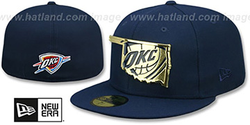 Thunder GOLD STATED METAL-BADGE Navy Fitted Hat by New Era